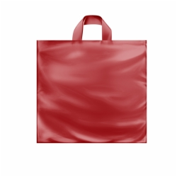 16 x 15 x 6 RED FROSTED SOFT LOOP HANDLE PLASTIC BAGS
