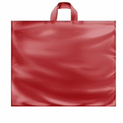 22 x 18 x 8 RED FROSTED SOFT LOOP HANDLE PLASTIC BAGS