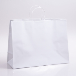 16 x 6 x 12 WHITE PAPER SHOPPING BAGS