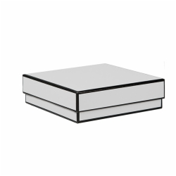 5 x 5 x 1.5 WHITE WITH BLACK TRIM JEWELRY BOX