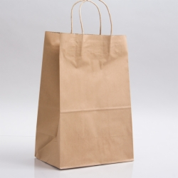 9 x 5.75 x 13.5 NATURAL KRAFT PAPER SHOPPING BAGS - 100% RECYCLED