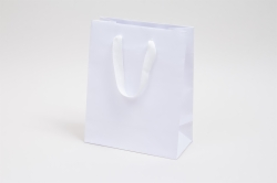 8 x 4 x 10 MATTE WHITE TINTED PAPER EUROTOTE - TWILL RIBBON HANDLES