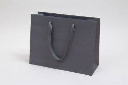 13 x 5 x 10 MATTE CHARCOAL TINTED PAPER EUROTOTES - TWILL RIBBON HANDLES