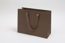 13 x 5 x 10 MATTE CHOCOLATE TINTED PAPER EUROTOTES - TWILL RIBBON HANDLES