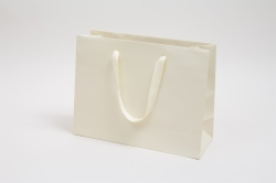 13 x 5 x 10 MATTE IVORY TINTED PAPER EUROTOTES - TWILL RIBBON HANDLES