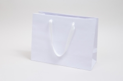 13 x 5 x 10 MATTE WHITE TINTED PAPER EUROTOTE - TWILL RIBBON HANDLES