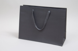 16 x 6 x 12 MATTE CHARCOAL TINTED PAPER EUROTOTES - TWILL RIBBON HANDLES