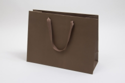 16 x 6 x 12 MATTE CHOCOLATE TINTED PAPER EUROTOTES - TWILL RIBBON HANDLES