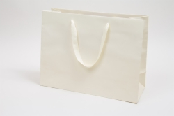 16 x 6 x 12 MATTE IVORY TINTED PAPER EUROTOTES - TWILL RIBBON HANDLES