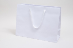 16 x 6 x 12 MATTE WHITE TINTED PAPER EUROTOTE - TWILL RIBBON HANDLES