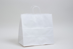13 x 7 x 13 WHITE KRAFT PAPER SHOPPING BAGS