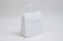 8 x 4.5 x 10.25 WHITE KRAFT PAPER SHOPPING BAGS