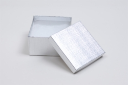 (#34) 3-1/2 x 3-1/2 x 2 SILVER LINEN JEWELRY BOXES