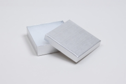 (#33) 3-1/2 x 3-1/2 x 1 SILVER LINEN JEWELRY BOXES