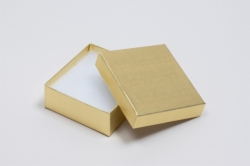 (#33D) 3-1/2 x 3-1/2 x 1-1/2 GOLD LINEN JEWELRY BOXES