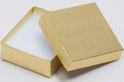 (#34) 3-1/2 x 3-1/2 x 2 GOLD LINEN JEWELRY BOXES