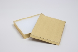 (#65) 6 x 5 x 1 GOLD LINEN JEWELRY BOXES