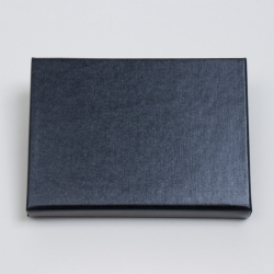4-5/8 x 3-3/8 x 5/8 BLACK LINEN GIFT CARD BOX WITH SILVER POP-UP INSERT