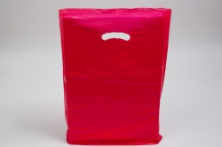 15 x 18 x 4 RED SUPER GLOSS PLASTIC BAGS