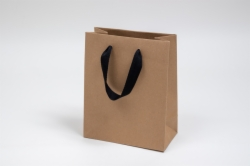 8 x 4 x 10 NATURAL KRAFT PAPER EUROTOTES - BLACK TWILL RIBBON HANDLES