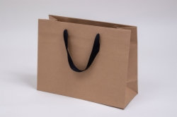 13 x 5 x 10 NATURAL KRAFT PAPER EUROTOTES - BLACK TWILL RIBBON HANDLES