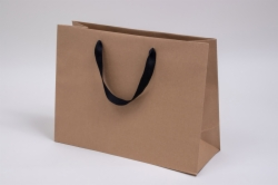 16 x 6 x 12 NATURAL KRAFT PAPER EUROTOTES - BLACK TWILL RIBBON HANDLES