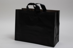 16 x 6 x 12 BLACK FROSTED LOOP-HANDLE PLASTIC BAGS - 4 mil