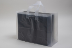16 x 6 x 12 CLEAR FROSTED LOOP-HANDLE PLASTIC BAGS - 4 mil