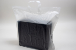 17 x 7 x 18 CLEAR FROSTED LOOP-HANDLE PLASTIC BAGS - 4 mil