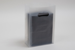 7 x 3.5 x 10.5 CLEAR FROSTED PLASTIC TOTE BAGS