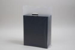 14 x 3 x 21 CLEAR FROSTED PLASTIC MERCHANDISE BAGS - 2.25 mil