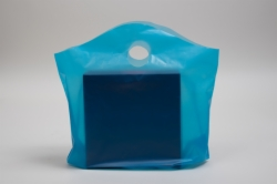 18 x 15 x 6 LAGOON BLUE FROSTED WAVETOP PLASTIC BAGS