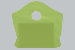 12 x 11 + 4 CITRUS GREEN FROSTED WAVETOP PLASTIC BAGS - 2 mil