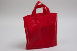 12 x 10 x 4 RED FROSTED SOFT LOOP HANDLE PLASTIC BAGS