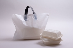 16 x 11 x 8 WHITE SOFT LOOP HANDLE PLASTIC CARRYOUT BAGS