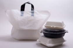 19 x 12 x 9 WHITE SOFT LOOP HANDLE PLASTIC CARRYOUT BAGS