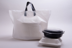 21 x 13 x 10 WHITE SOFT LOOP HANDLE PLASTIC CARRYOUT BAGS