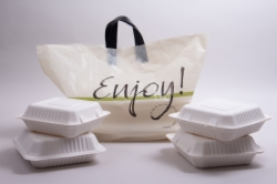"24 x 14 x 11 CREAM ""ENJOY"" SOFT LOOP HANDLE PLASTIC CARRYOUT BAGS"