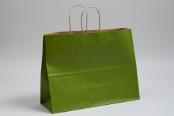 16 x 6 x 12 MATTE GREEN TEA COLOR TINTED KRAFT PAPER SHOPPING BAGS