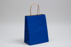 8 x 4.5 x 10.25 MATTE PARADE BLUE COLOR TINTED KRAFT PAPER SHOPPING BAGS