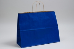 16 x 6 x 12 MATTE PARADE BLUE COLOR TINTED KRAFT PAPER SHOPPING BAGS