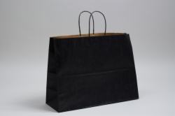 16 x 6 x 12 MATTE BLACK COLOR TINTED KRAFT PAPER SHOPPING BAGS