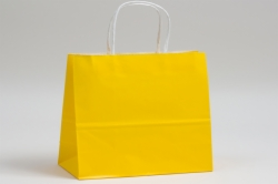 16 x 6 x 12 BUTTERCUP YELLOW COLOR TINTED PAPER SHOPPING BAGS