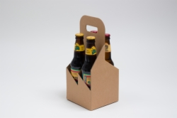 "5.125 X 5.125 X 11.375"" KRAFT GROOVE OPEN BOTTLE CARRIERS WITH HANDLES"