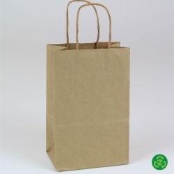 5.5 x 3.25 x 8.37 ECONOMY NATURAL KRAFT PAPER SHOPPING BAGS