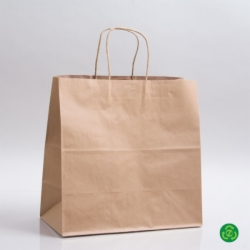 11.8 x 9.5 x 12 ECONOMY NATURAL KRAFT PAPER SHOPPING BAGS