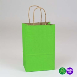 5.5 x 3.25 x 8.37 APPLE GREEN MATTE SHADOWSTRIPE PAPER BAGS