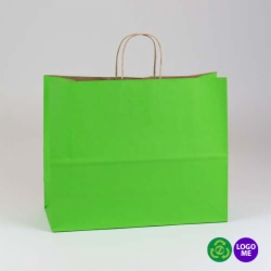 16 x 6 x 13 APPLE GREEN MATTE SHADOWSTRIPE PAPER BAGS