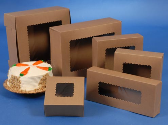 In stock windowed bakery boxes natural kraft for Wholesale windows