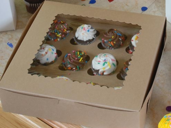 Window Cup Cake Boxes - Natural Kraft